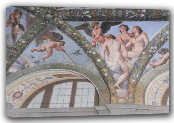 Raphael: Cupid and the Three Graces. Fine Art Canvas. Sizes: A4/A3/A2/A1 (001287)